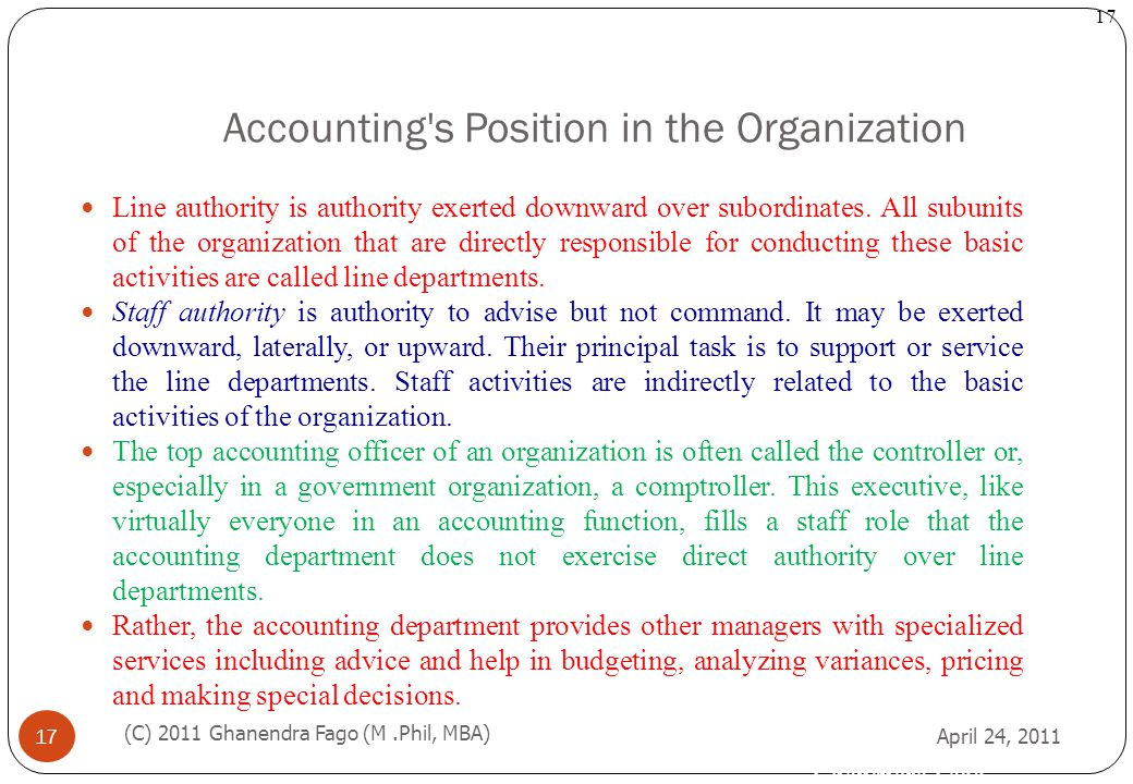 Accounting s Position in the Organization