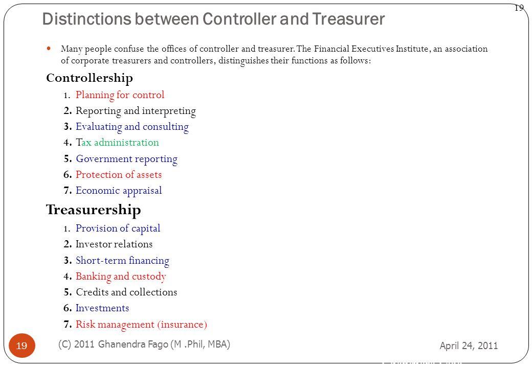 Distinctions between Controller and Treasurer