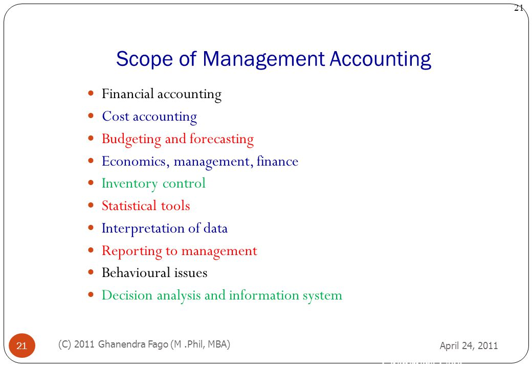 nature and scope of management accounting View notes - 192017584-management-accounting from bab 240 at seneca syllabus unit-i management accounting- nature, scope and objectives-distinction between financial.