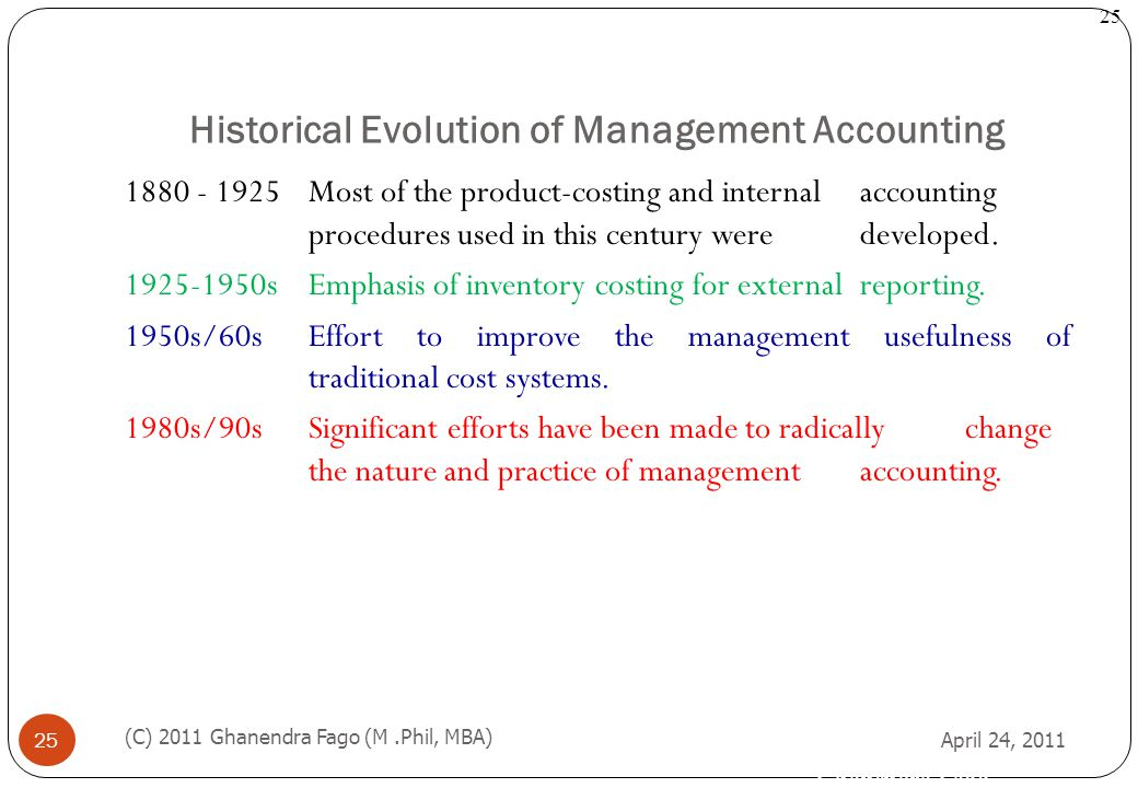 Historical Evolution of Management Accounting