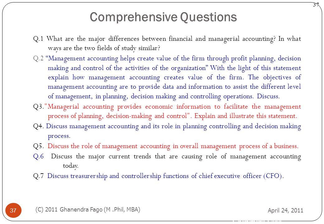 Comprehensive Questions