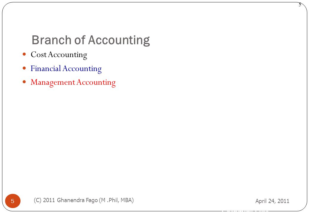 Branch of Accounting Cost Accounting Financial Accounting