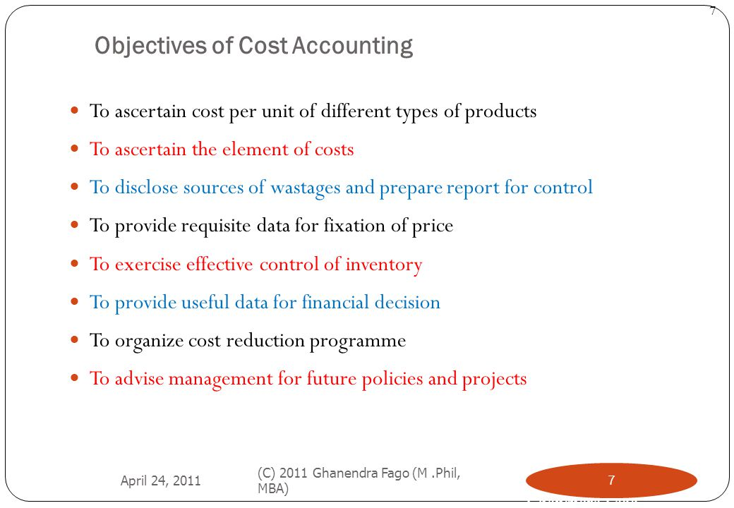 Objectives of Cost Accounting