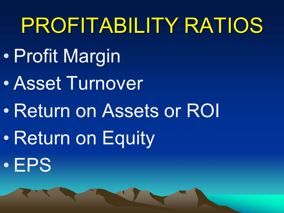 PROFITABILITY RATIOS Profit Margin Asset Turnover