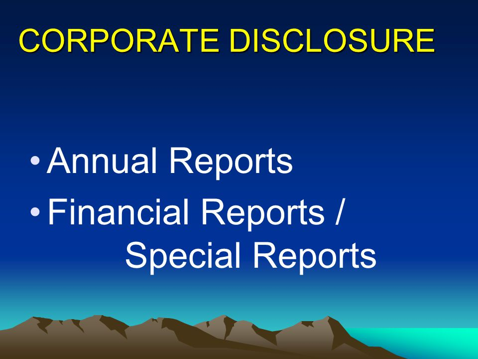 Financial Reports / Special Reports