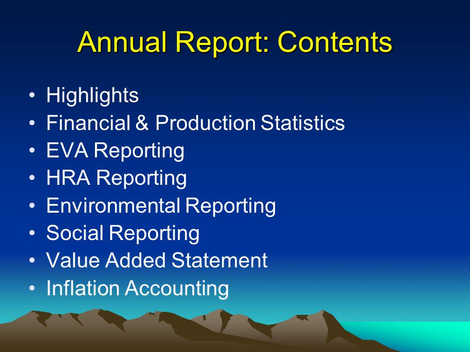 Annual Report: Contents