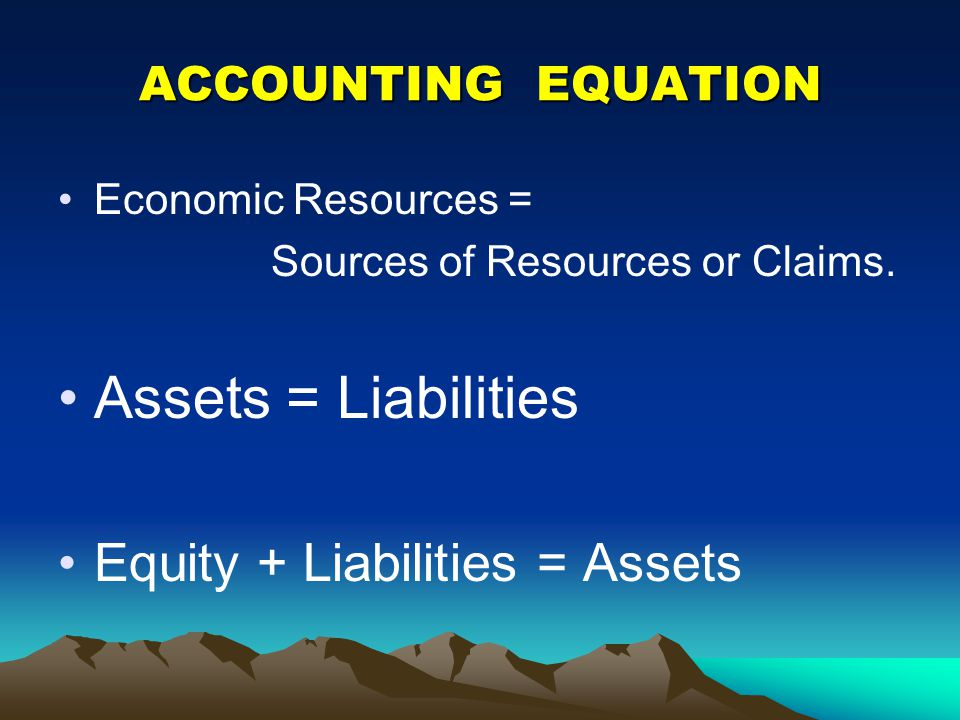 Assets = Liabilities Equity + Liabilities = Assets ACCOUNTING EQUATION
