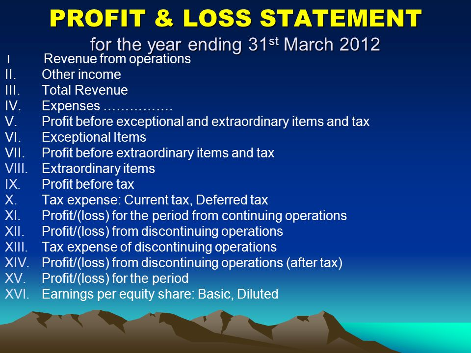 PROFIT & LOSS STATEMENT for the year ending 31st March 2012