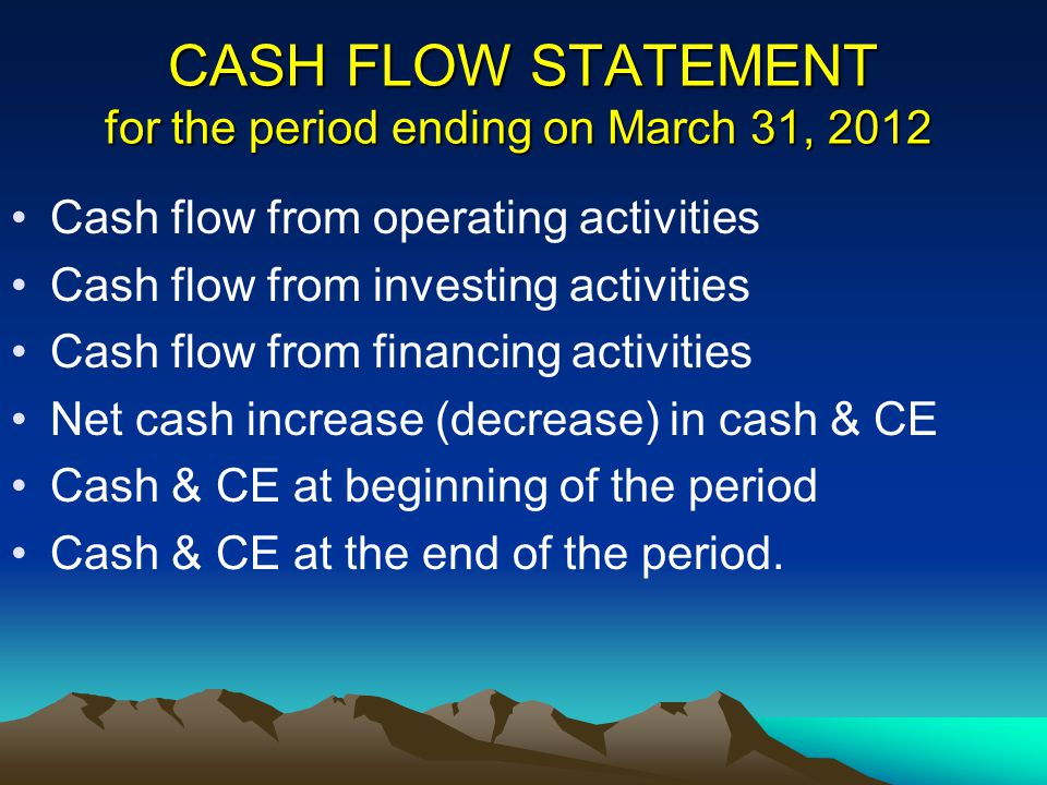 CASH FLOW STATEMENT for the period ending on March 31, 2012