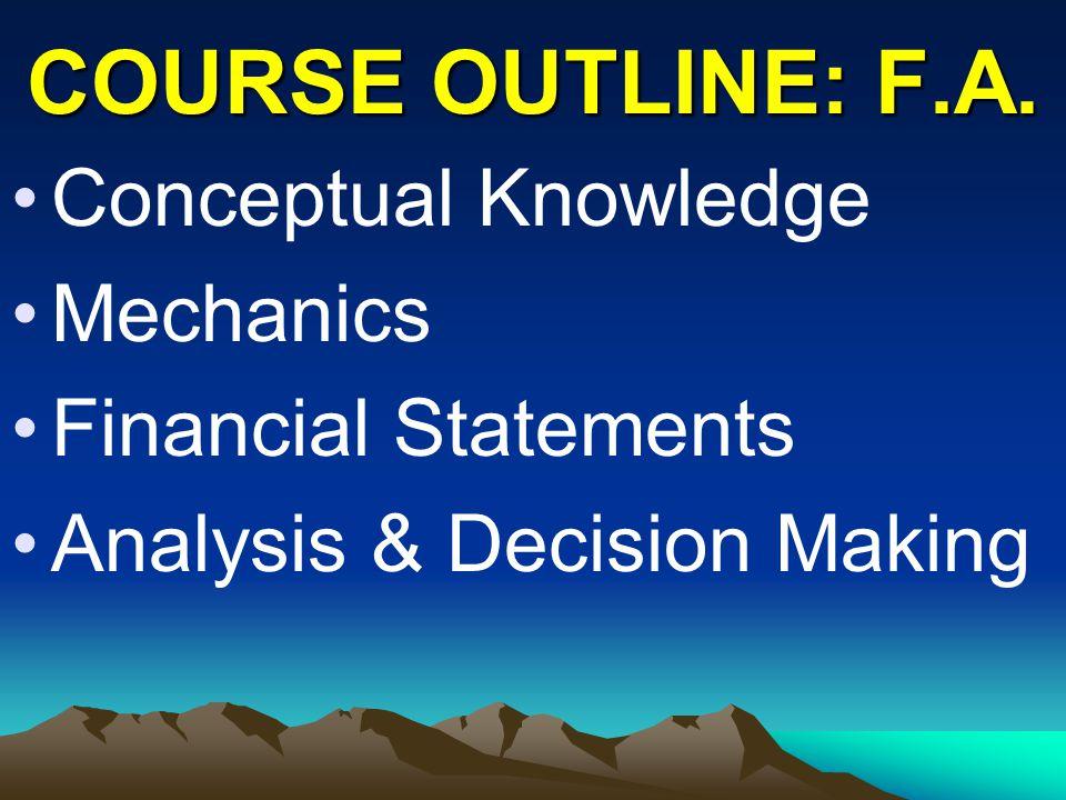 COURSE OUTLINE: F.A. Conceptual Knowledge Mechanics