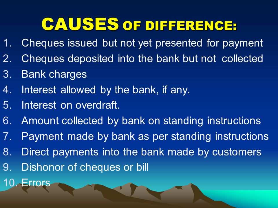 CAUSES OF DIFFERENCE: Cheques issued but not yet presented for payment