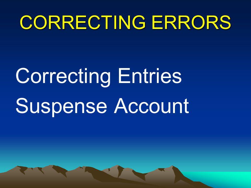 CORRECTING ERRORS Correcting Entries Suspense Account