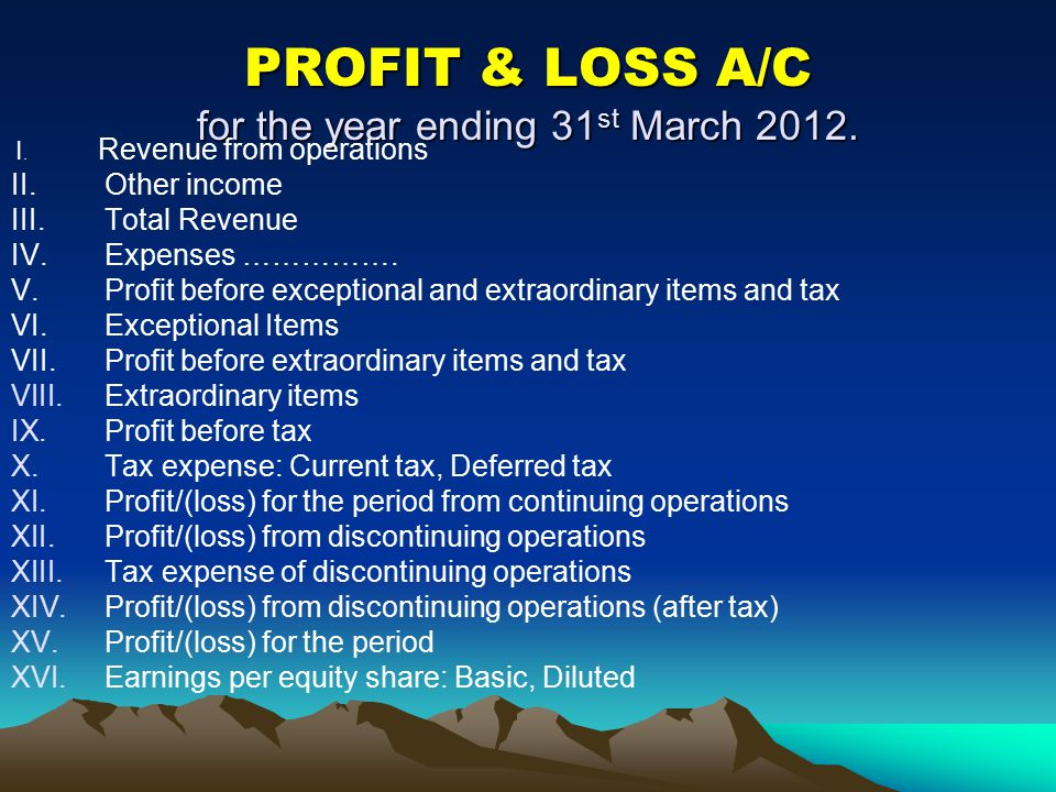 PROFIT & LOSS A/C for the year ending 31st March 2012.