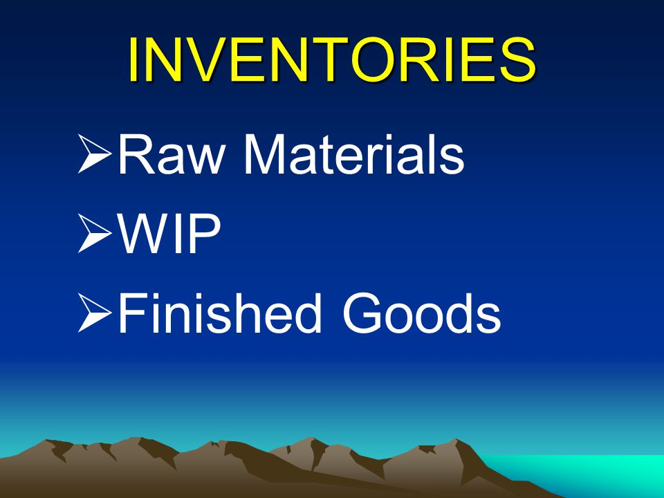 INVENTORIES Raw Materials WIP Finished Goods