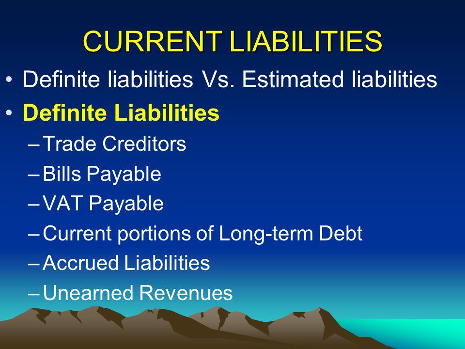CURRENT LIABILITIES Definite liabilities Vs. Estimated liabilities