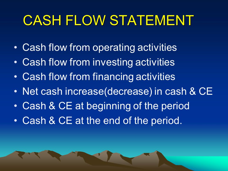 CASH FLOW STATEMENT Cash flow from operating activities