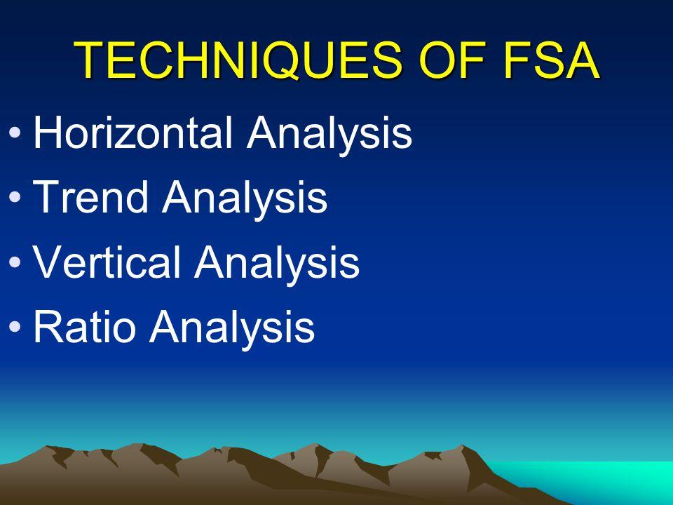 TECHNIQUES OF FSA Horizontal Analysis Trend Analysis Vertical Analysis