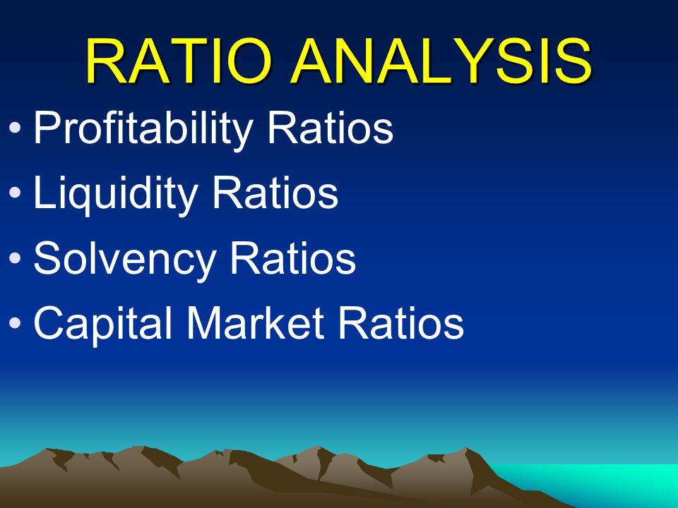 RATIO ANALYSIS Profitability Ratios Liquidity Ratios Solvency Ratios