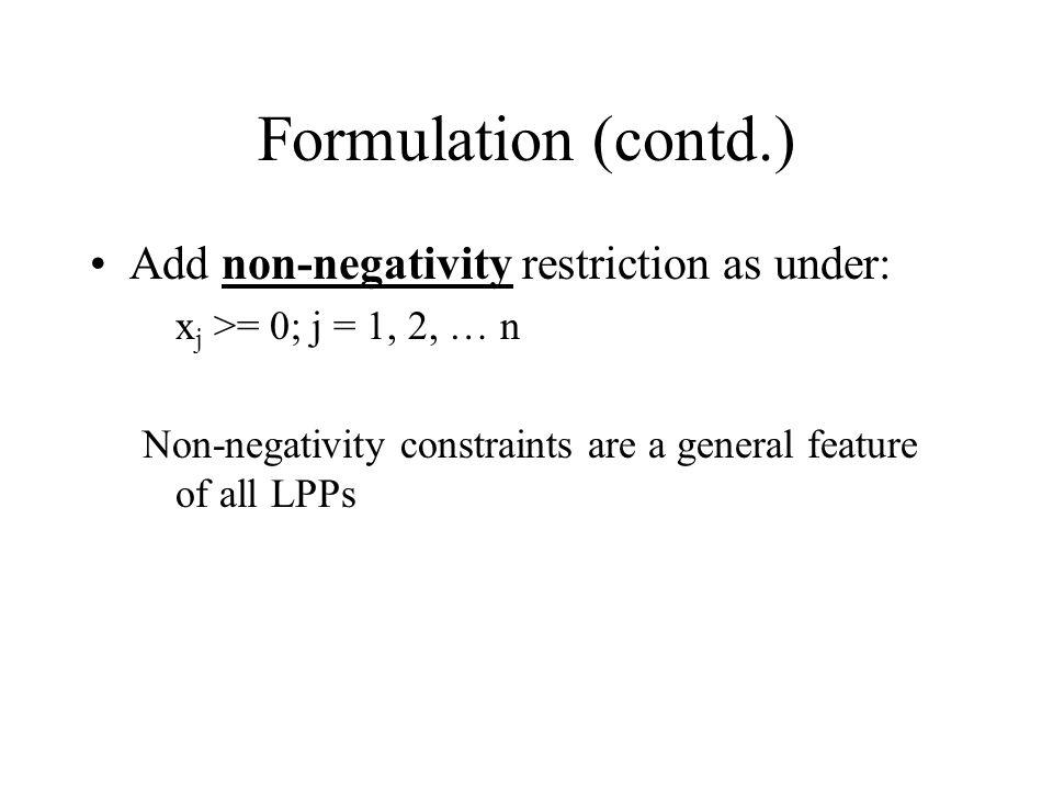 Formulation (contd.) Add non-negativity restriction as under: