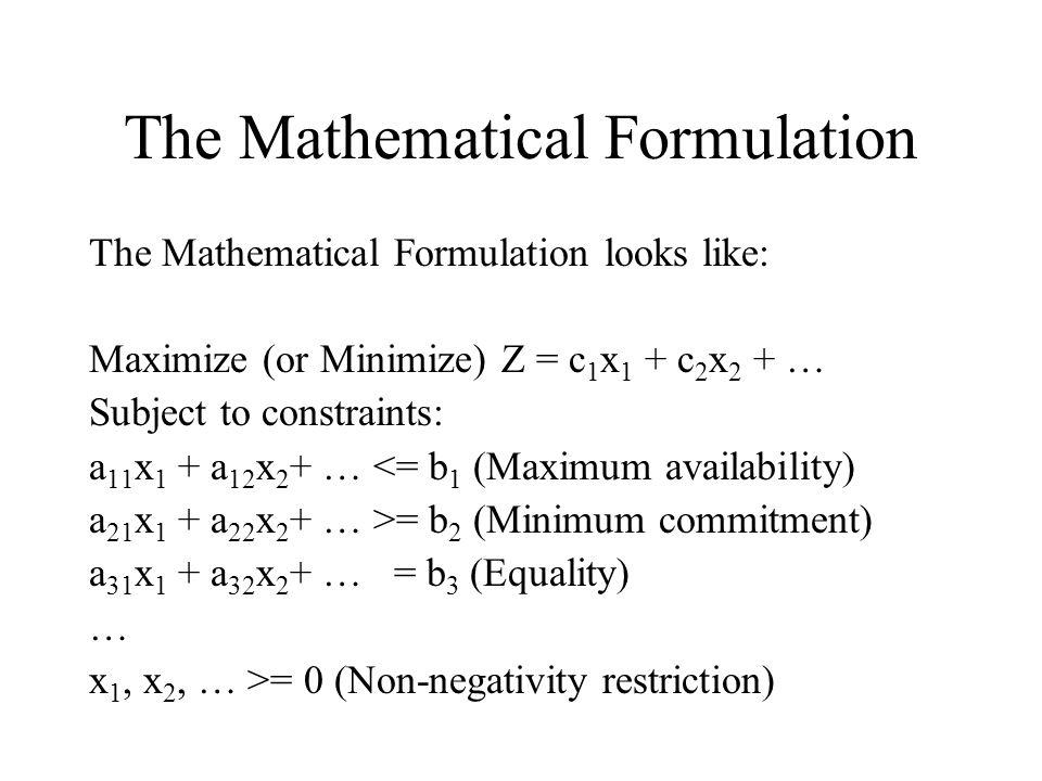 The Mathematical Formulation