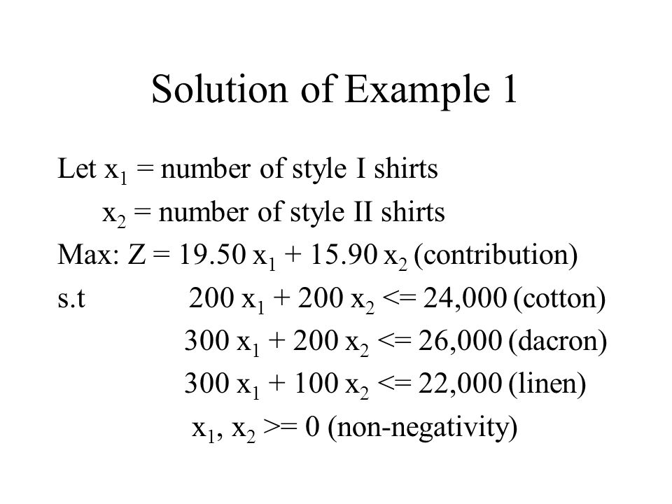 Solution of Example 1 Let x1 = number of style I shirts