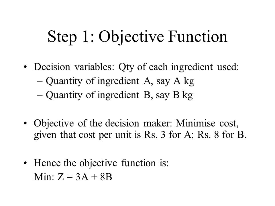 Step 1: Objective Function