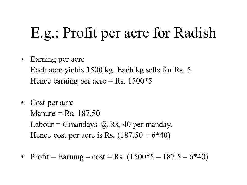 E.g.: Profit per acre for Radish