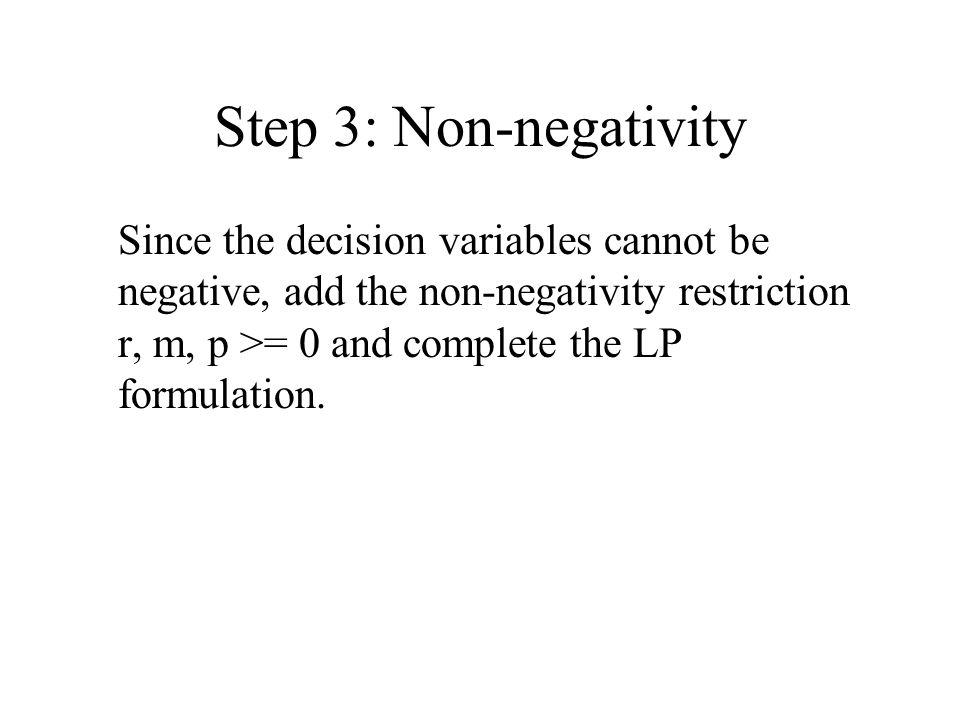 Step 3: Non-negativity