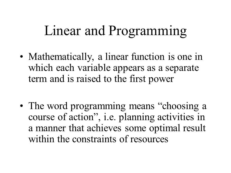 Linear and Programming