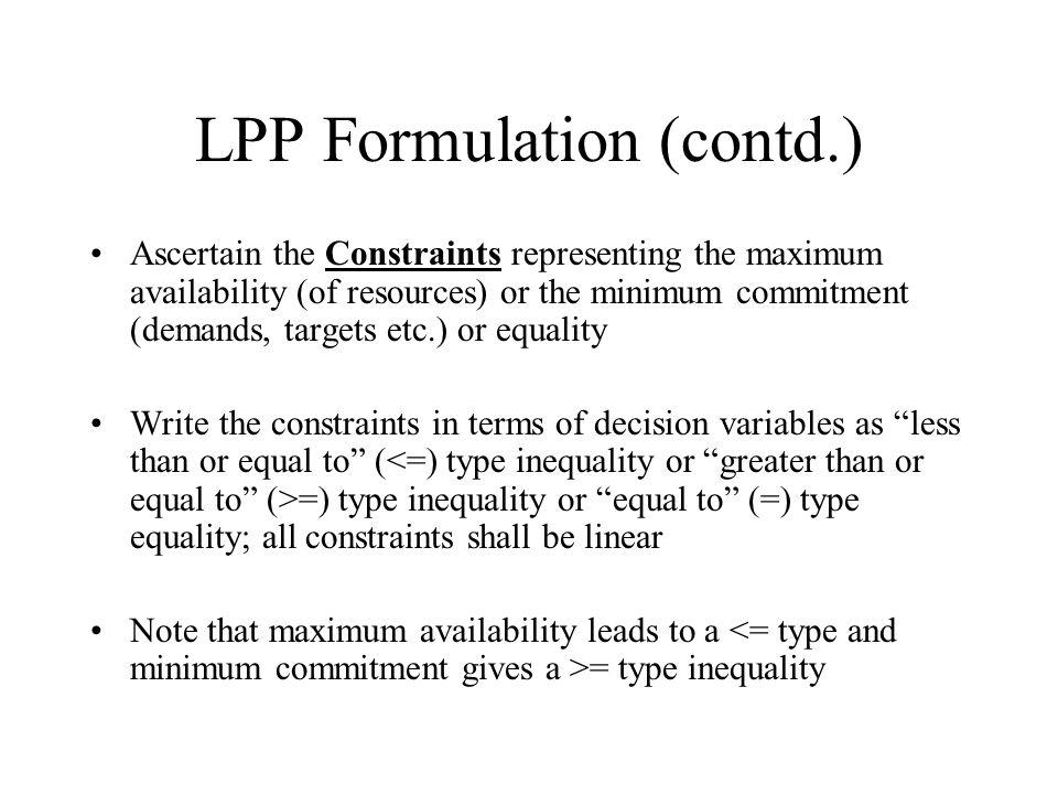 LPP Formulation (contd.)