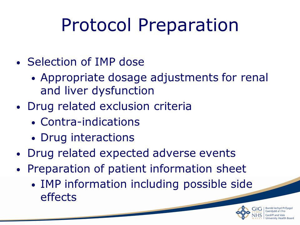 Protocol Preparation Selection of IMP dose