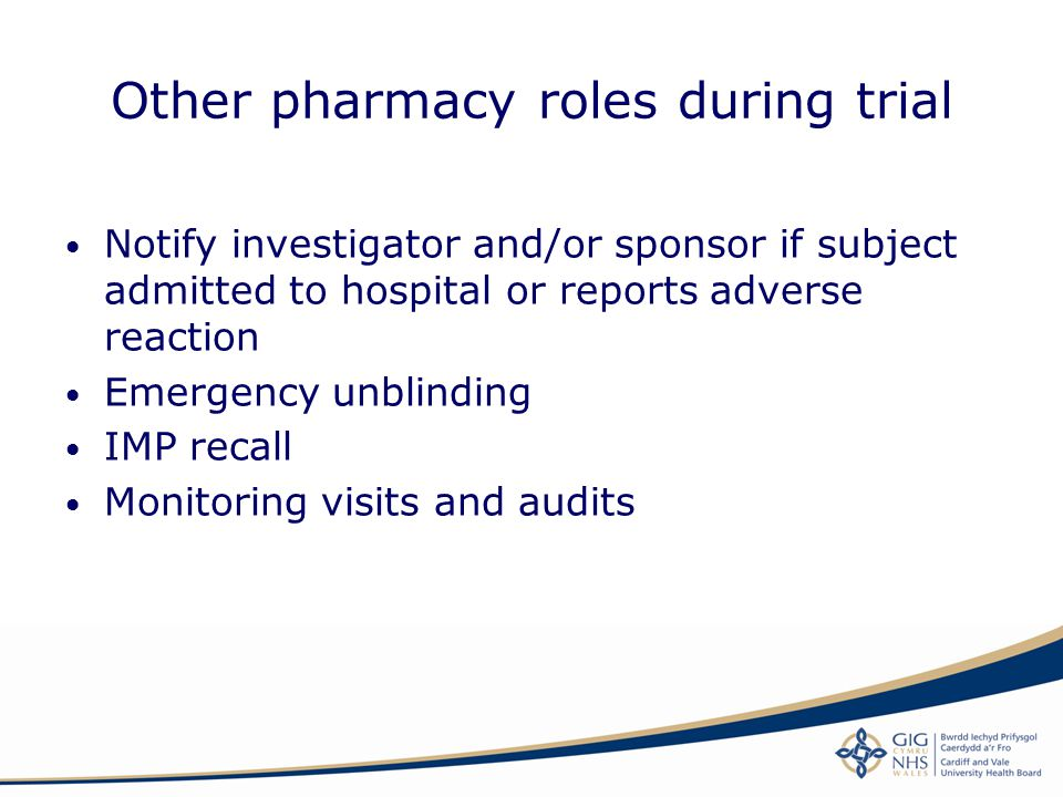 Other pharmacy roles during trial