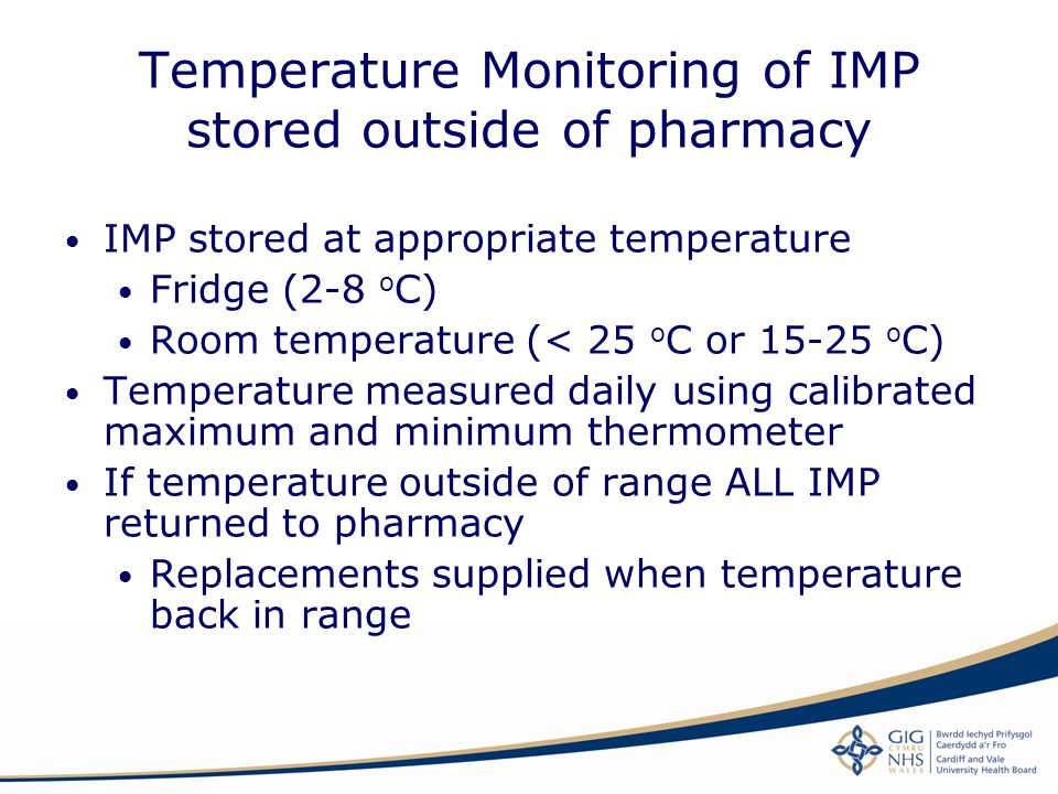 Temperature Monitoring of IMP stored outside of pharmacy