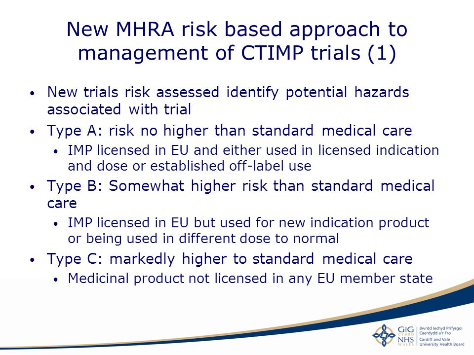 New MHRA risk based approach to management of CTIMP trials (1)