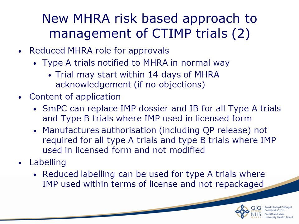 New MHRA risk based approach to management of CTIMP trials (2)