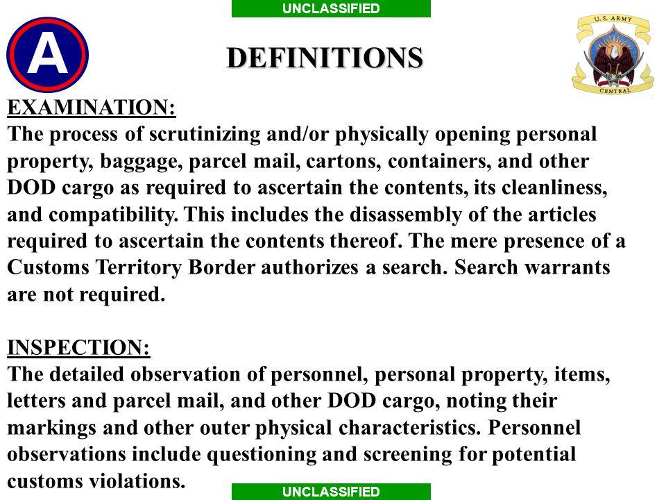 DEFINITIONS EXAMINATION: