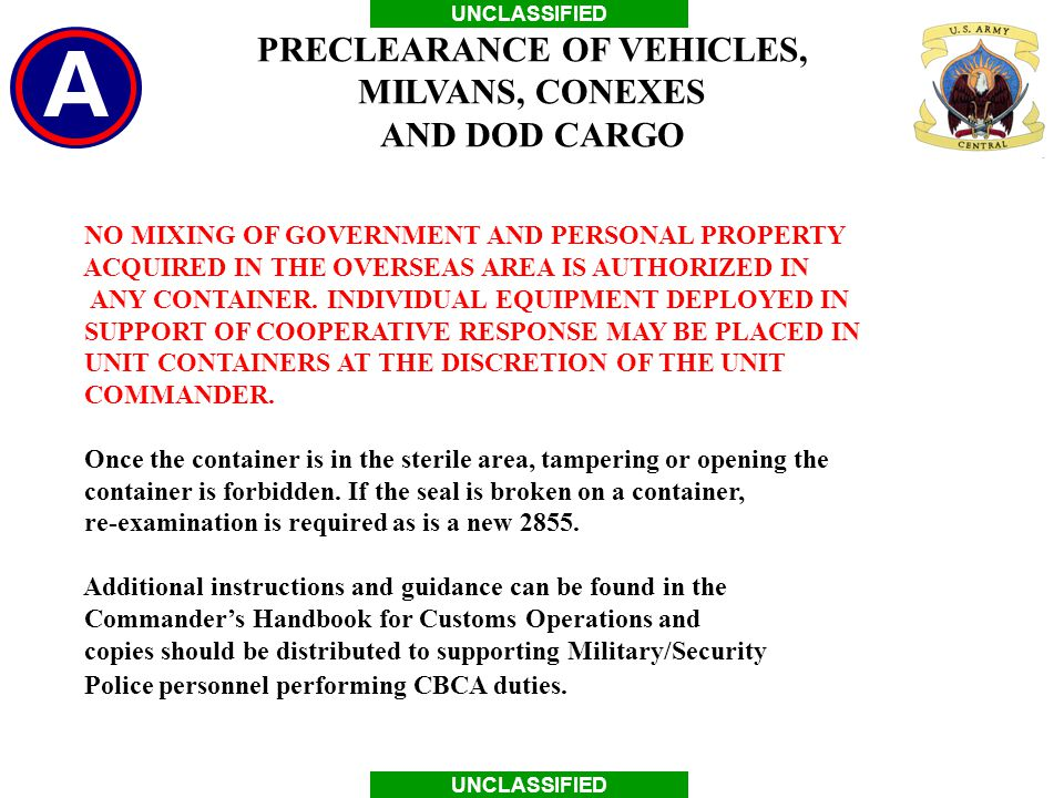 PRECLEARANCE OF VEHICLES,