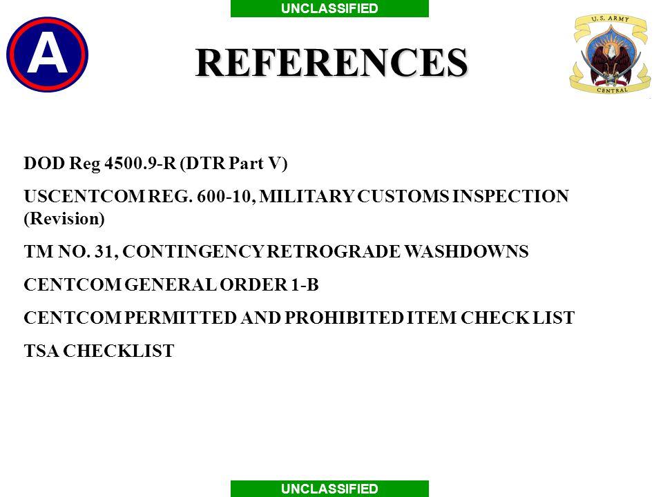 REFERENCES DOD Reg 4500.9-R (DTR Part V)