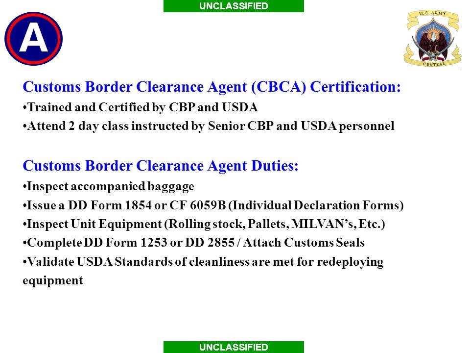 Air Force Customs Brief References Dod Reg R Dtr Part V Uscentcom