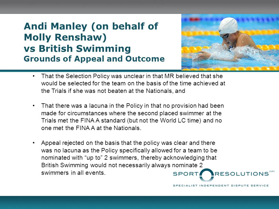 Andi Manley (on behalf of Molly Renshaw) vs British Swimming Grounds of Appeal and Outcome