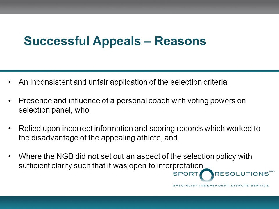 Successful Appeals – Reasons