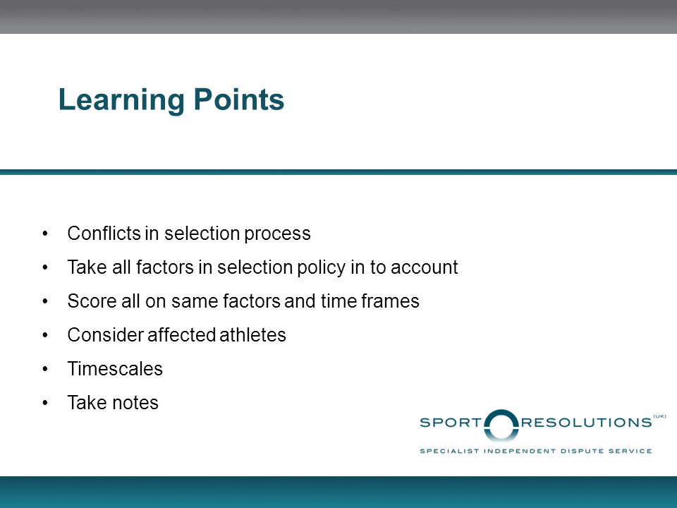 Learning Points Conflicts in selection process