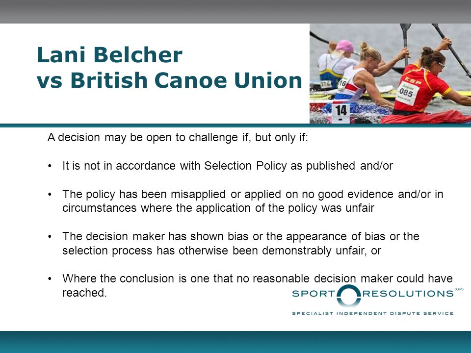 Lani Belcher vs British Canoe Union