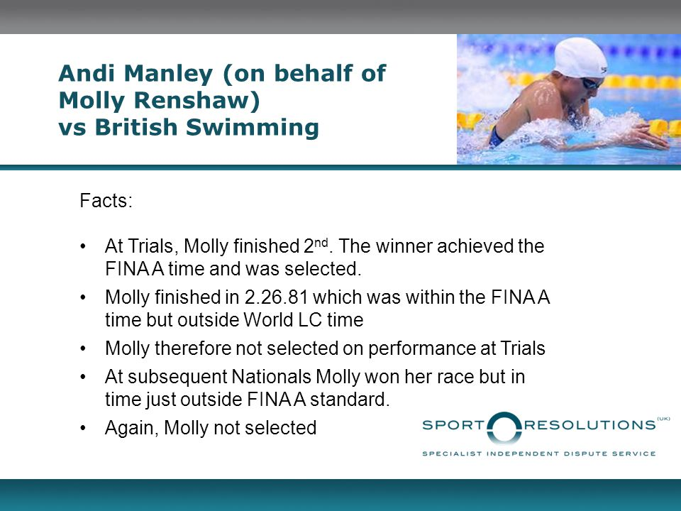 Andi Manley (on behalf of Molly Renshaw) vs British Swimming