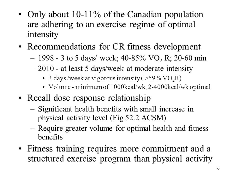 Recommendations for CR fitness development