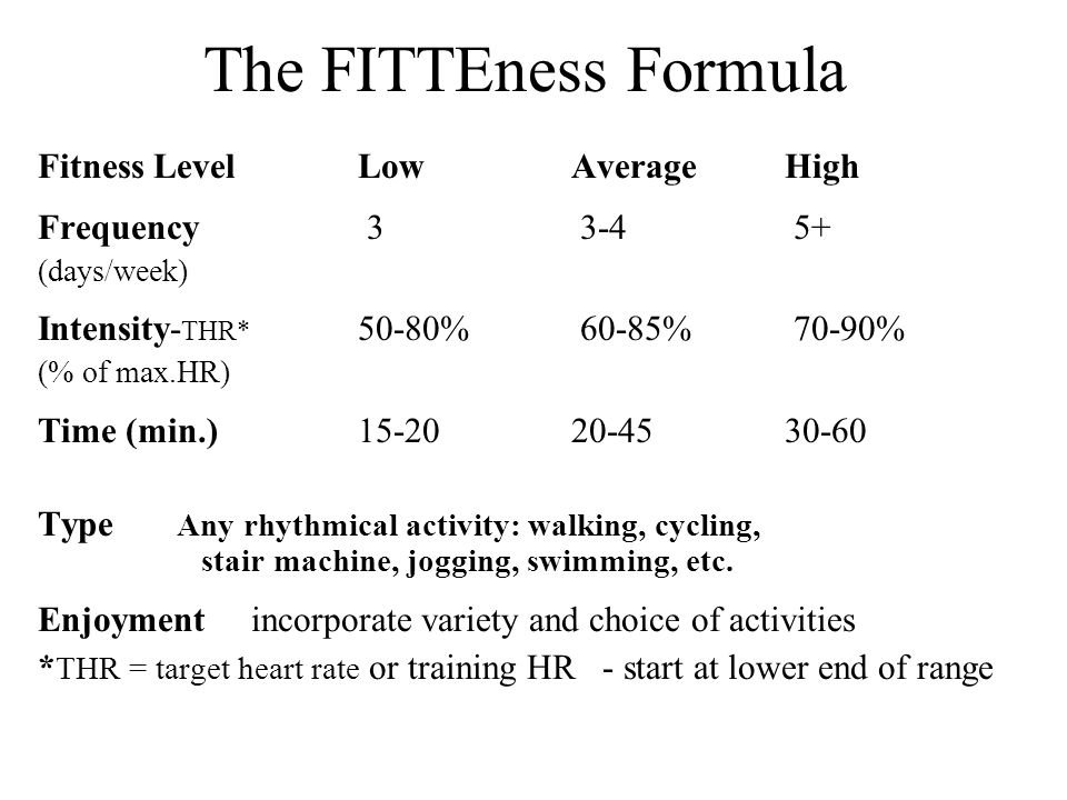 The FITTEness Formula Fitness Level Low Average High