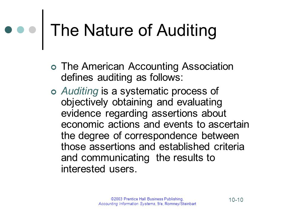 The Nature of Auditing The American Accounting Association defines auditing as follows: