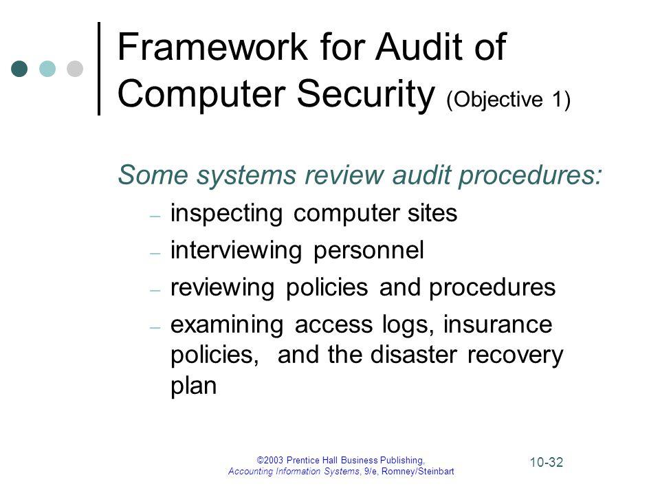 Framework for Audit of Computer Security (Objective 1)