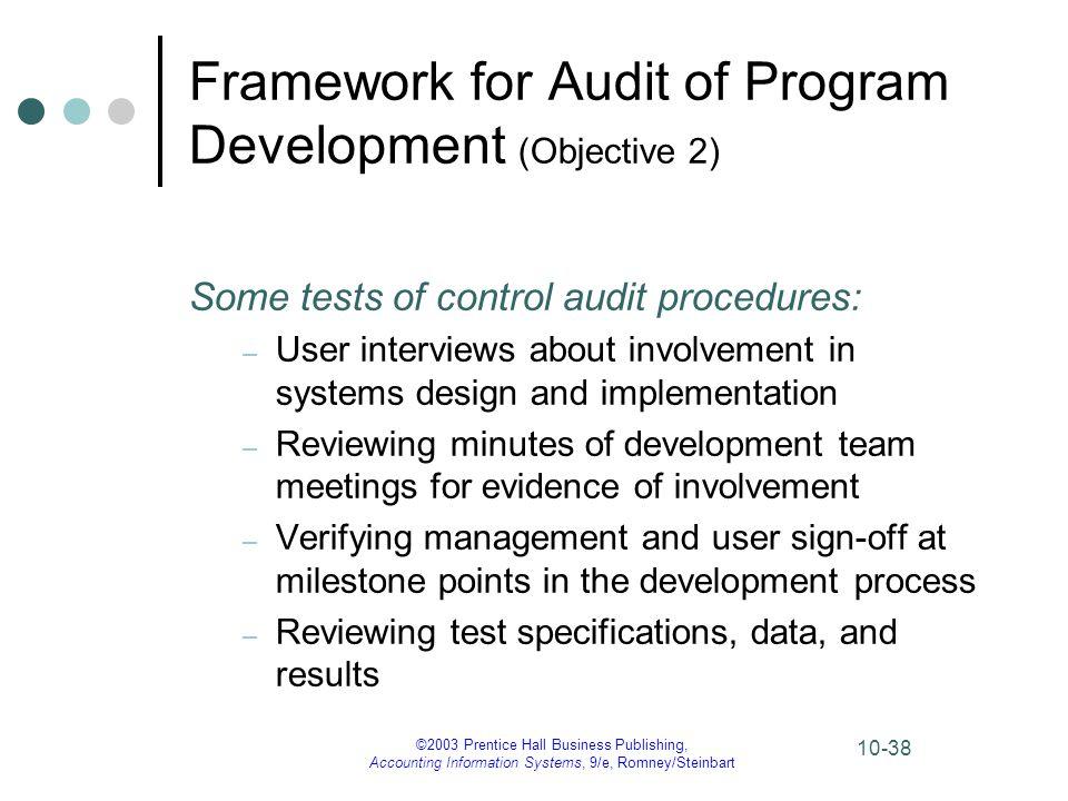 Framework for Audit of Program Development (Objective 2)