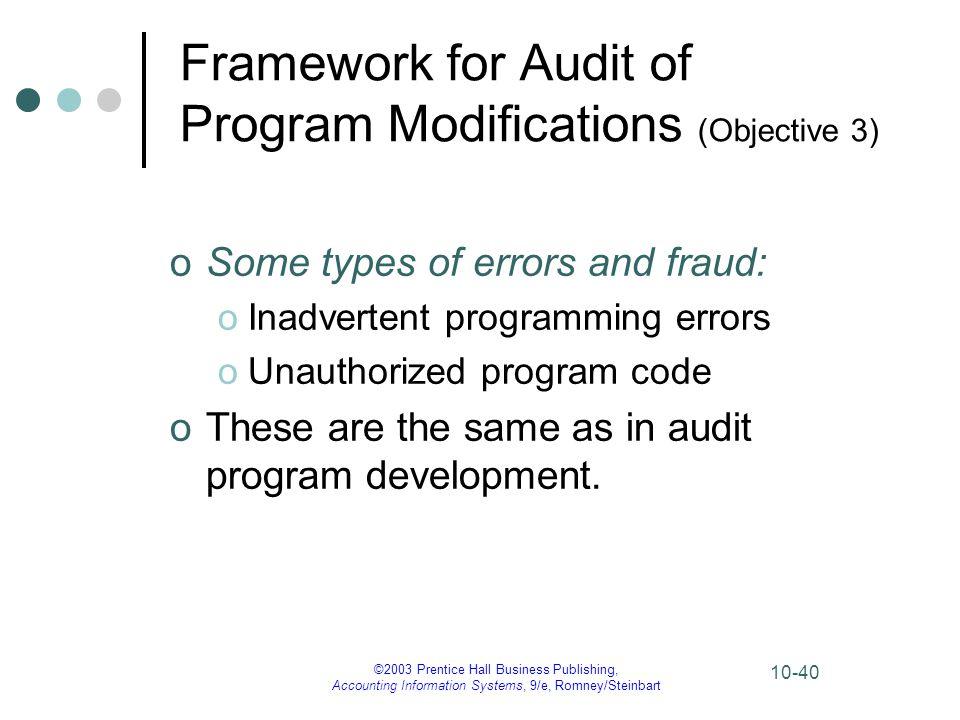Framework for Audit of Program Modifications (Objective 3)